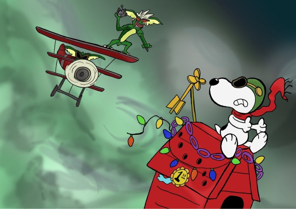 a_gremlins_christmas__snoopy_and_the_red_baron_by_manicmagician-dbxrwxt